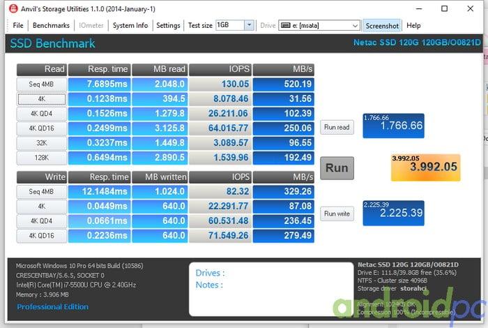 NETAC N5M SSD msata 120GB AS SSD Anvil Storage Utilities