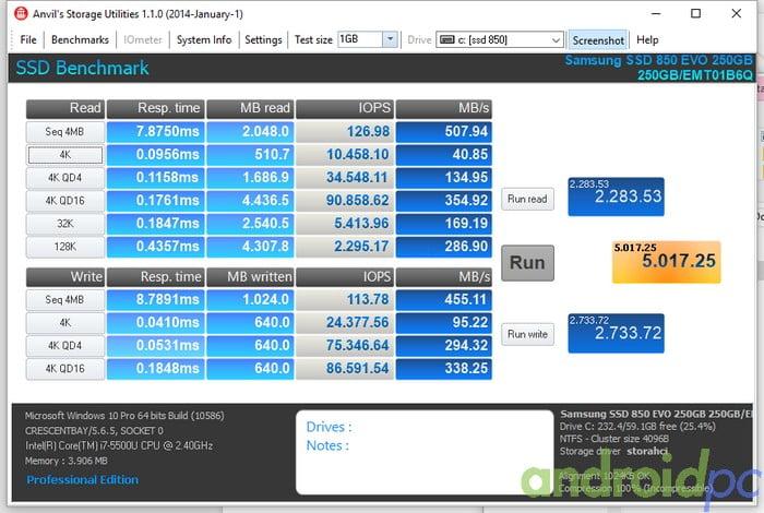 Samsung SSD 850 EVO 250GB_SATA_Anvils storage utilities