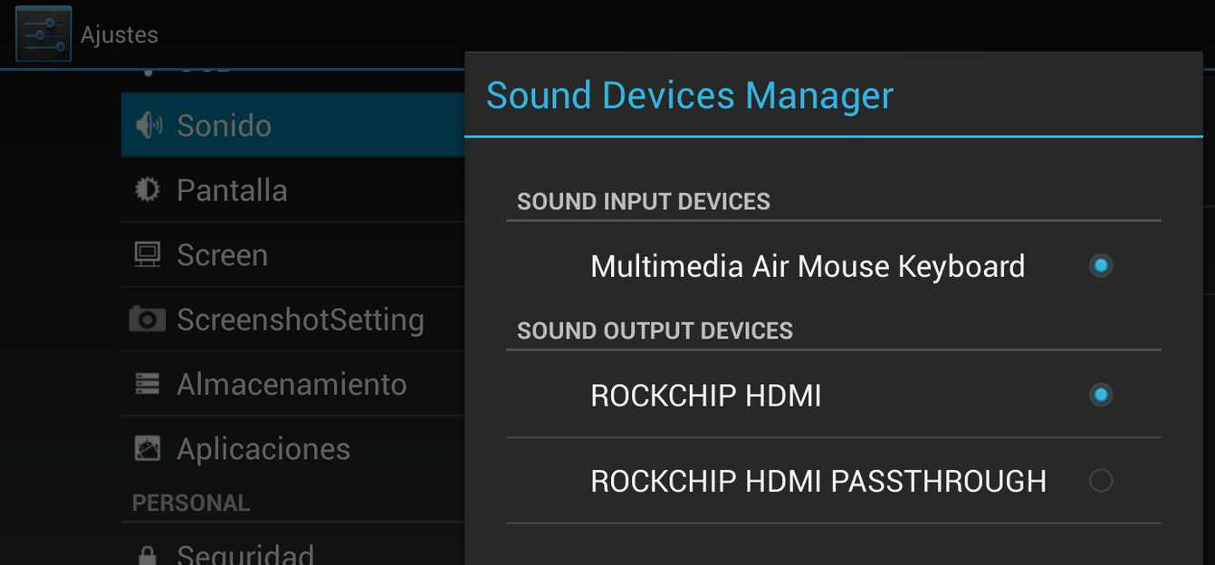 Audio opciones
