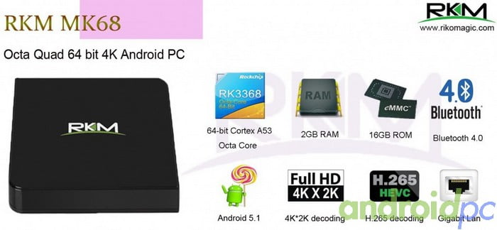 MK68 RKM RK3368 Octa Core Android
