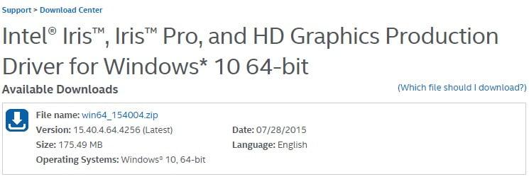 Win 10 GPU drivers