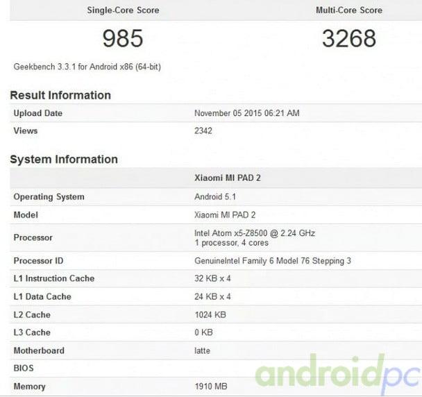 Xiaomi Mi Pad 2 Intel